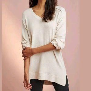 Anthropologie Sat/Sun Brushed Cream Hi-Lo Sweater